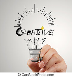 hannd drawing light bulb and CREATIVE word design as concept