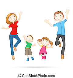 illustration of 3d jumping family in editable vector