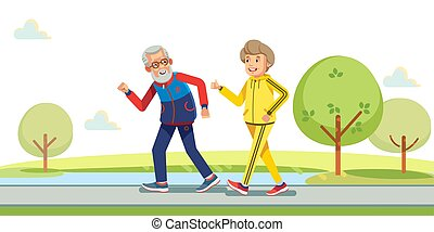 Happy active seniors running outside in green nature. Vector flat illustration.