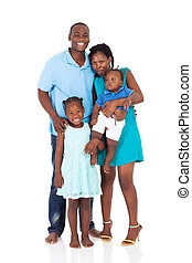 happy african american family full length portrait