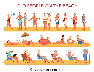 Happy and active seniors spending time on the beach.