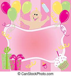 Happy Birthday Baby Girl Invitation