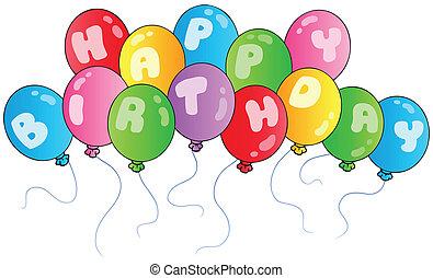 Happy birthday balloons - vector illustrations.