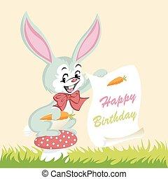 happy birthday card, cute bunny
