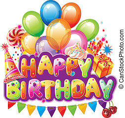 Happy birthday text with party element