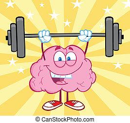 Happy Brain Cartoon Character Lifting Weights