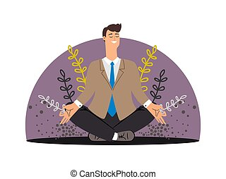 Happy business man. Meditation vector concept isolated