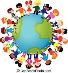 Happy kids of different nationalities play together around the world. Vector art-illustration on a white background.