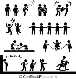 A set of pictogram representing children playing with each other.