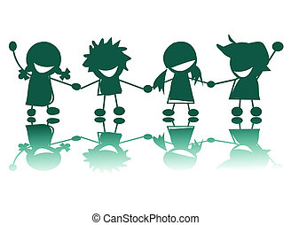 Happy children silhouettes on white background