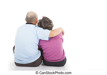 Happy closeness senior couple sitting on the floor