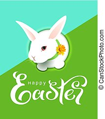 Happy easter greeting card text white head bunny