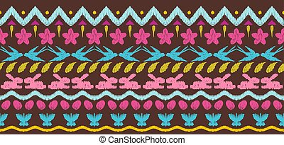 Happy Easter ikat seamless pattern.