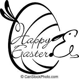 Happy Easter script Design Element in Black and white