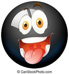 Happy face on black ball