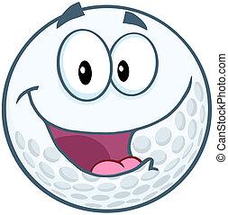 Happy Golf Ball Cartoon Character