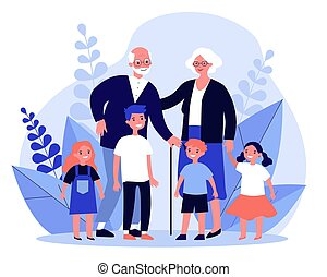 Happy grandparents spending leisure time with grandchildren