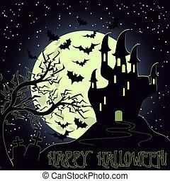 Happy Halloween invitation card, vector illustration