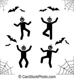 Happy Halloween stick figure pumpkin head pictogram