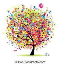 Happy holiday, funny tree with balloons