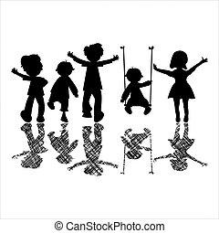 happy little children with striped shadows