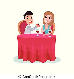 Happy man proposing marriage to beautiful woman with diamond ring while sitting at the table and having dinner cartoon vector Illustration