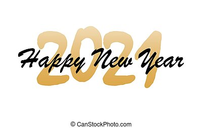 Happy new year greeting card text hand lettering