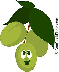 Happy olives, illustration, vector on white background.