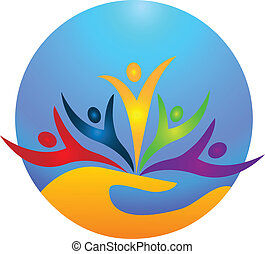 Happy people protecting the world icon vector