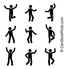 Happy people stick figure icon set