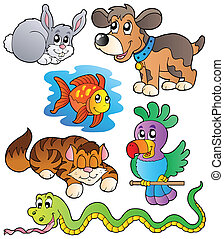 Happy pets collection 1 - vector illustration.