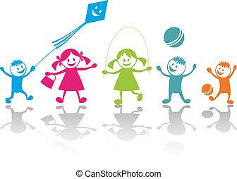 Cheerful playing children. Vector illustration