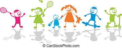 Happy playing children. Sport