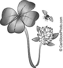 Happy quatrefoil clover leaf. Clover flower and flying ladybug. Black and white vector illustration in retro style woodcut