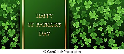 Happy Saint Patricks Day golden text on striped ribbon with clover leaves on green background