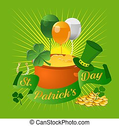 Happy Saint Patrick's Day greetings with hat, sunburst, pot of gold coins, clover, balloons on green background