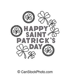 happy saint patricks day label with clover icons