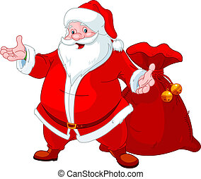 Happy Santa Claus with sack of gifts