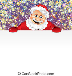 Santa Claus with blank sign in front of a Christmas fireworks display