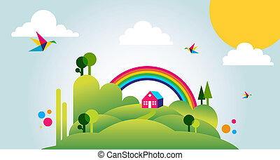Happy spring time landscape illustration background