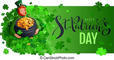 Happy st patrick s day template greeting card. Dwarf found and holds pot of gold coins