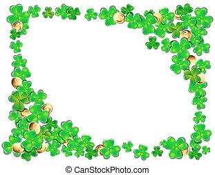 Happy St. Patricks day frame with Shamrock, vector illustration