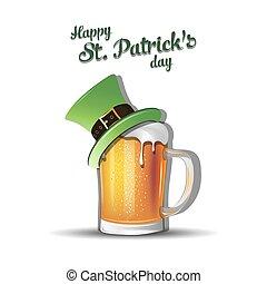 Mug of beer with St. Patrick hat