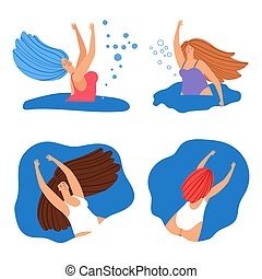 Happy swimming women banners or icons vector set
