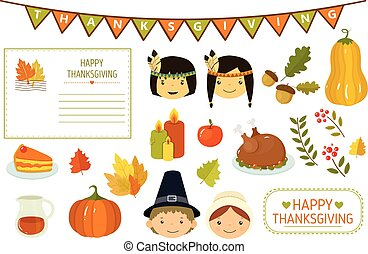 Happy Thanksgiving card, elements of Thanksgiving celebration, American Indian kids, pumpkin, autumn leaves, turkey, candles, party flags vector Illustration