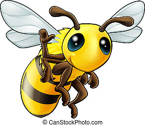 Illustration of a cute happy waving cartoon bee character