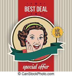 happy woman, commercial retro clipart illustration