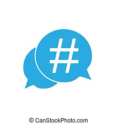 Hashtag icon in speech bubble. Vector illustration, flat design.