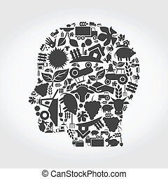 Head made of agriculture. A vector illustration