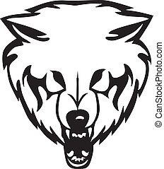 Head of a wolf on a white background. Vector illustration